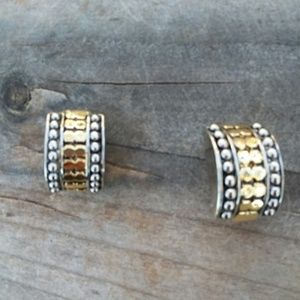 Tricolor Gold Silver Earrings on Clips